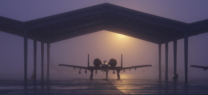 An A-10 Thunderbolt II is parked under a shelter at Selfridge Air National Guard Base, Mich.