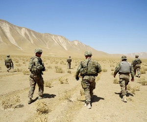 Soldiers with the 1st Infantry Division's 3rd Brigade Combat Team patrol an area in Kunduz, Afghanistan.