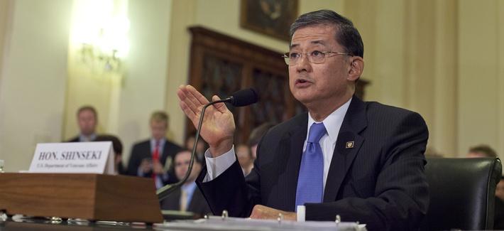 Veterans Affairs Secretary Eric Shinseki testifies at a hearing on Capitol Hill on October 9, 2013.