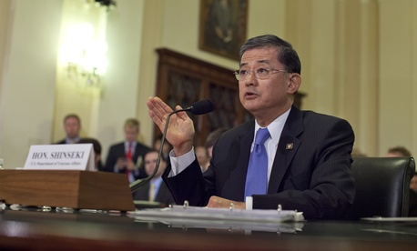 Veterans Affairs Secretary Eric Shinseki testifies at a hearing on Capitol Hill on October 9, 2013.
