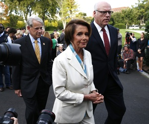 House Minority Leader Rep. Nancy Pelosi D-Calif., walks with fellow Democrats, Reps. Steve Israel and Joseph Crowley after a press conference on Capitol Hill.
