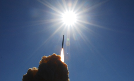 A Ground Base Interceptor shortly after its launch from Vandenberg AFB, Calif. on December 5, 2008.