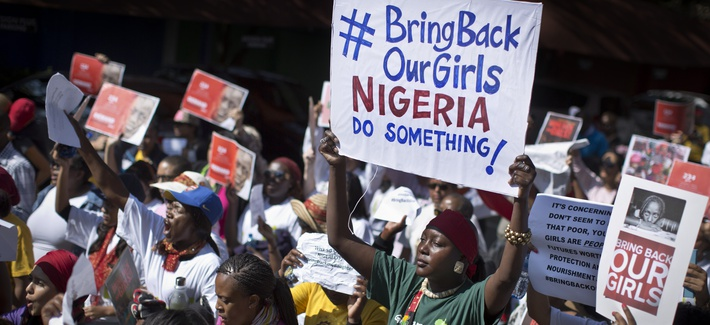 South Africans in Johannesburg protest against the abduction of 270 Nigerian girls by Boko Haram.