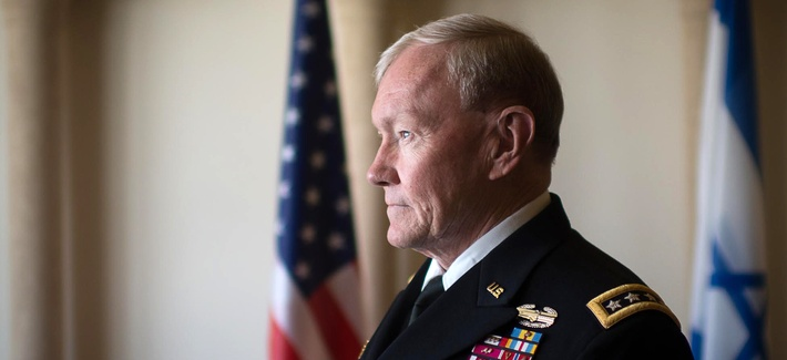 Joint Chiefs Chairman Gen. Martin Dempsey waits to meet with the leadership of the Israeli Defense forces in Jerusalem on March 30, 2014.