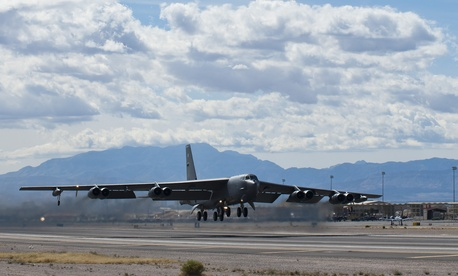 A B-52H assigned to the 96th Bomb Squadron takes off from Nellis AFB, Nev. during Exercise Red Flag.