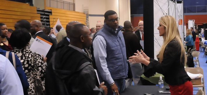 Soldiers and veterans at Fort Jackson attend a job fair held by the Chamber of Commerce.