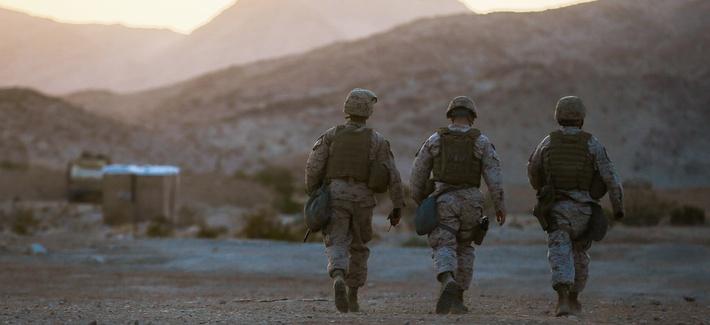 Marines with the Headquarters Battalion, 1st Marine Division, participate in Exercise Desert Scimitar at Marine Corps Air Ground Combat Center Twentynine Palms, Calif.