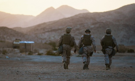 Marines with the Headquarters Battalion, 1st Marine Division, participate in Exercise Desert Scimitar at Marine Corps Air Ground Combat Center Twentynine Palms, Calif.
