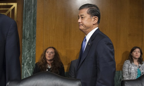 Veterans Affairs Secretary Eric Shinseki leaves a congressional hearing on May 15, 2014.