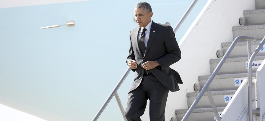 President Obama steps off of Air Force One before a series of fundraisers in Los Angeles, Calif. on May 7, 2014.