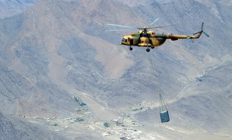 An Afghan air force flies an Mi-17 transport to Orgun-e on July 1, 2010.