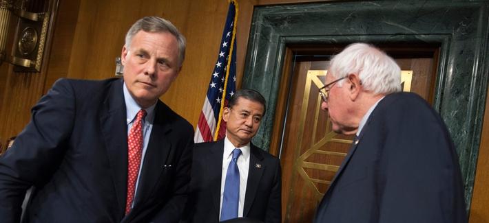 Veterans Affairs Secretary Eric Shinseki, center, meets with Senate Veterans Affairs Committee Chairman Sen. Bernie Sanders, I-Vt., right, and the committee's ranking member Sen. Richard Burr, R-N.C., in Washington, May 15, 2014.