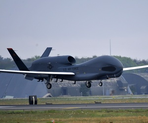 An RQ-4 Global Hawk from Andersen Air Force Base in Guam lands at Misawa Air Base in Japan on May 24.
