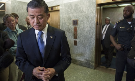 Former VA Secretary Eric Shinseki faced reporters on Capitol Hill last month as calls for his resignation grew.