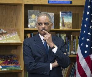 U.S. Attorney General Eric Holder at a discussion on universal access to preschool at an elementary school in Washington, D.C., on March 21, 2014.
