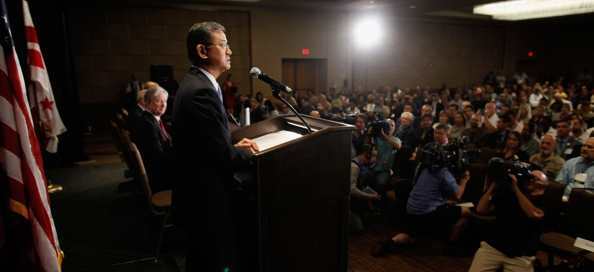 Veterans Affairs Secretary Eric Shinseki speaks at a meeting of the National Coalition of Homeless Veterans on May 30, 2014.