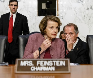 Senate Intelligence Committee Chair Sen. Dianne Feinstein, D-Calif. begins a hearing on reforming multi-agency bulk collection of telephone records, June 5, 2014, on Capitol Hill in Washington.