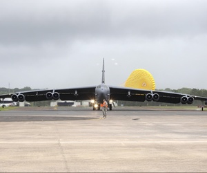 A B-52 Stratofortress lands at Royal Australian Air Force Base in Darwin, Australia on January 28, 2014.