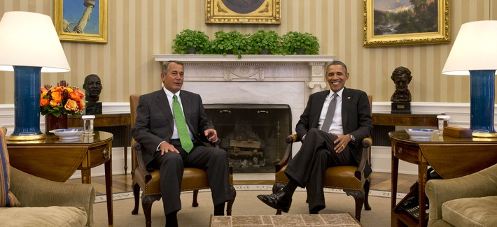 President Obama meets with House Speaker John Boehner in the Oval Office on February 25, 2014.