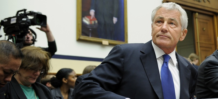 Defense Secretary Chuck Hagel arrives on Capitol Hill to testify before the House Armed Services Committee on the transfer of Sgt. Bowe Bergdahl, on June 11, 2014.