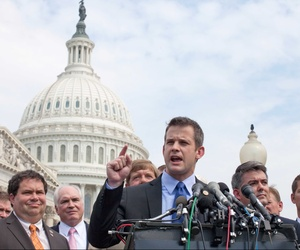 Rep. Adam Kinzinger, R-Ill., speaks during a news conference on Capitol Hill in Washington on July 28, 2011, during the contentious debt ceiling debates in Congress.