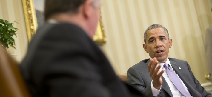 President Barack Obama meets with New Zealand's Prime Minister John Key in the Oval Office of the White House, on June 20, 2014.