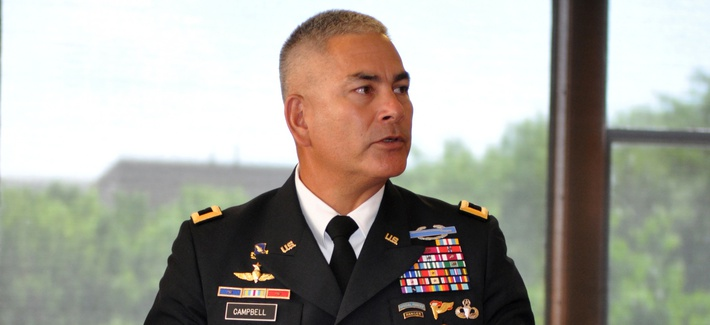 Gen. John Campbell, at the time a three-star commanding general of the 101st Airborne Division (Air Assault) visits the Chicago Pritzker Military Library for an interview and to celebrate the Army's 236th birthday on June 14, 2011.