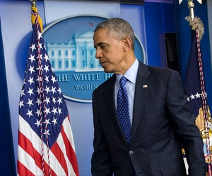President Barack Obama leaves speaking about the situation in Iraq, June 19, 2014, in the Brady Press Briefing Room of the White House in Washington. Obama said the US will send up to 300 military advisers to Iraq, set up joint operation centers.