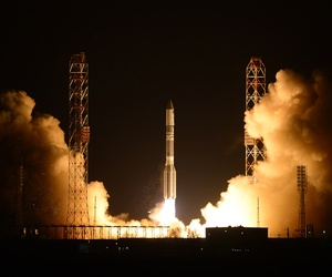 A Russian Proton booster rocket blasts off from the Russian-leased Baikonur cosmodrome in Kazakhstan, March 26, 2013.