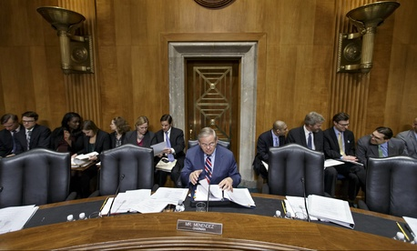 Sen. Bob Menendez, D-N.J., leads lawmakers in drafting legislation to address the situation in Ukraine, on March 12, 2014.