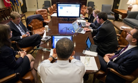 President Obama participates in a live Twitter Q&A in the Roosevelt Room of the White House, on December 3, 2012.