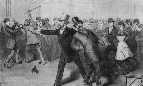 An engraving showing the assassination of President James Garfield