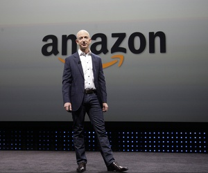 Jeff Bezos, the CEO and founder of Amazon, introduces the new Amazon Kindle Fire HD and Kindle Paperwhite devices during an event in Santa Monica, Calif, on Sept. 6, 2012.