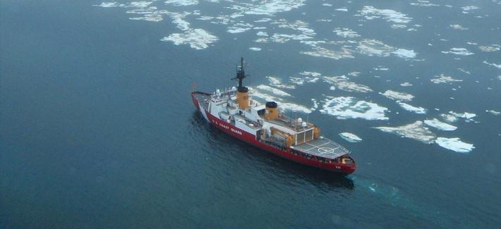 The Coast Guard Cutter Polar Star transits the Chukchi Sea north of Wainwright, Alaska, on July 16, 2013.