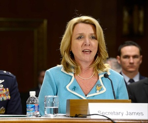 Air Force Secretary Deborah Lee James testifies before the Senate Appropriation Committee on Defense on the service's budget, on April 2, 2014.