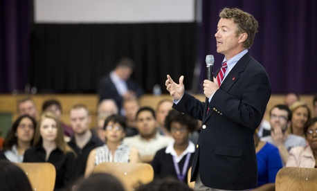 Sen. Rand Paul, R-Ky., speaks to a group of high schoolers at the Josephinum Academy in Chicago, on April 22, 2014.
