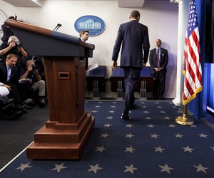 President Obama on Friday leaves the podium after speaking to reporters about the ongoing situation in Ukraine.
