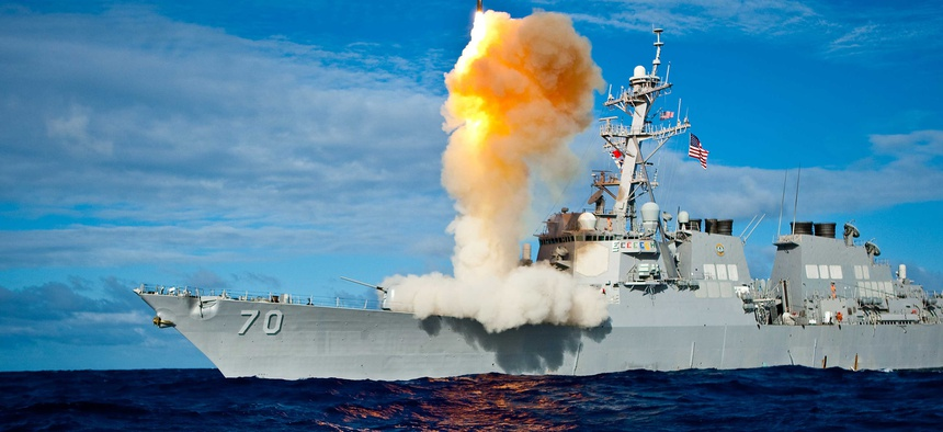 The USS Hopper, an Aegis-class destroyer, fires a Standard Missile 3 interceptor during Exercise Stellar Avenger.