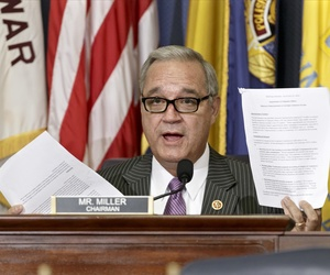 House Veterans Affairs Committee Chairman Rep. Jeff Miller, R-Fla., holds up two pages of response requests from the VA during a hearing on Thursday.