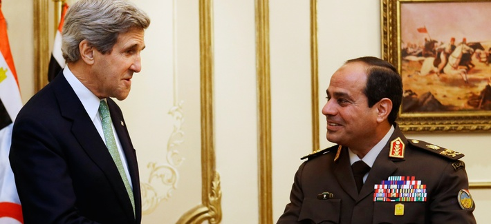 U.S. Secretary of State John Kerry, left, meets with Egyptian Defense Minister Abdel Fattah al-Sisi at the Ministry of Defense in Cairo, Egypt on March 3, 2013.
