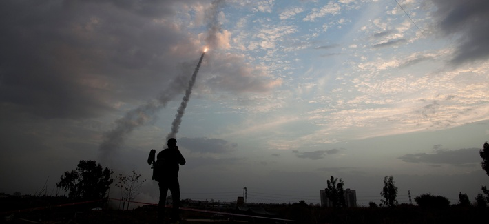 An Iron Dome missile is launched in Tel Aviv, to intercept a rocket fired from Gaza, Nov. 17, 2012.