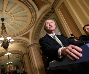 Senate Majority Leader Harry Reid speaks to reporters on Capitol Hill during a press conference on the situation at the VA, on June 24, 2014.