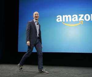 Amazon CEO Jeff Bezos introduces the new Amazon Fire Phone during an event in Seattle.
