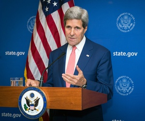 U.S. Secretary of State John Kerry announces a 72-hour humanitarian cease-fire beginning Friday between Israel and Hamas, in New Delhi, India, Aug. 1, 2014. The agreement broke down less than two hours after implementation.