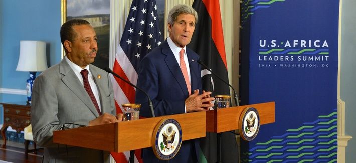 U.S. Secretary of State John Kerry and Libyan Prime Minister al-Thinny address reporters before a bilateral meeting, on August 4, 2014.