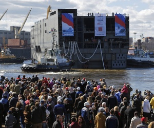 The stern of the Sevastopol, a Mistral class amphibious assault ship, is launched at a shipyard in St. Petersburg, Russia, on April 30, 2014.