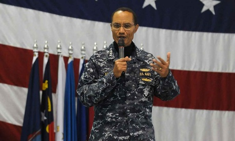 U.S. STRATCOM Commander Adm. Cecil Haney speaks to the 5th Bomb Wing at Minor Air Force Base, N.D., on December 2, 2013.