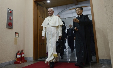 Pope Francis arrives to attend a meeting with Asian bishops at the Haemi Martyrs Shrine in Haemi, on Sunday.