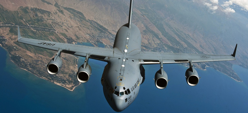A U.S. Air Force C-17 prepares to refuel during a demonstration over Kyrgyzstan.