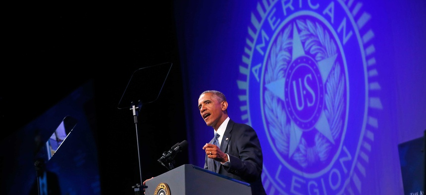 President Obama speaks about veterans issues at the American Legion's 96th National Convention at the Charlotte Convention Center in Charlotte, N.C., on August 26, 2014.